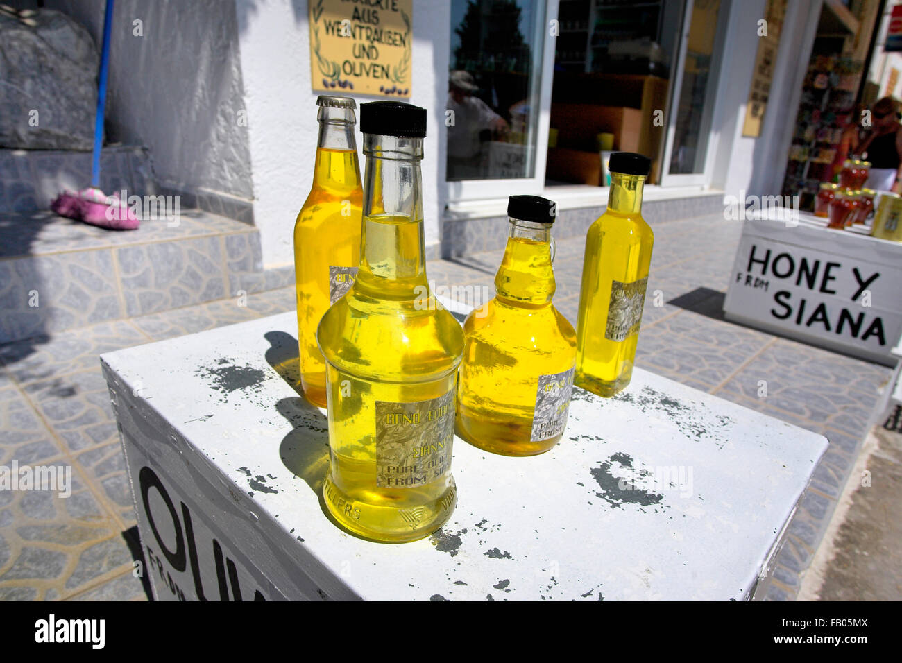Olive oil sold in Siana village, Rhodes Island, Greece - Stock Image