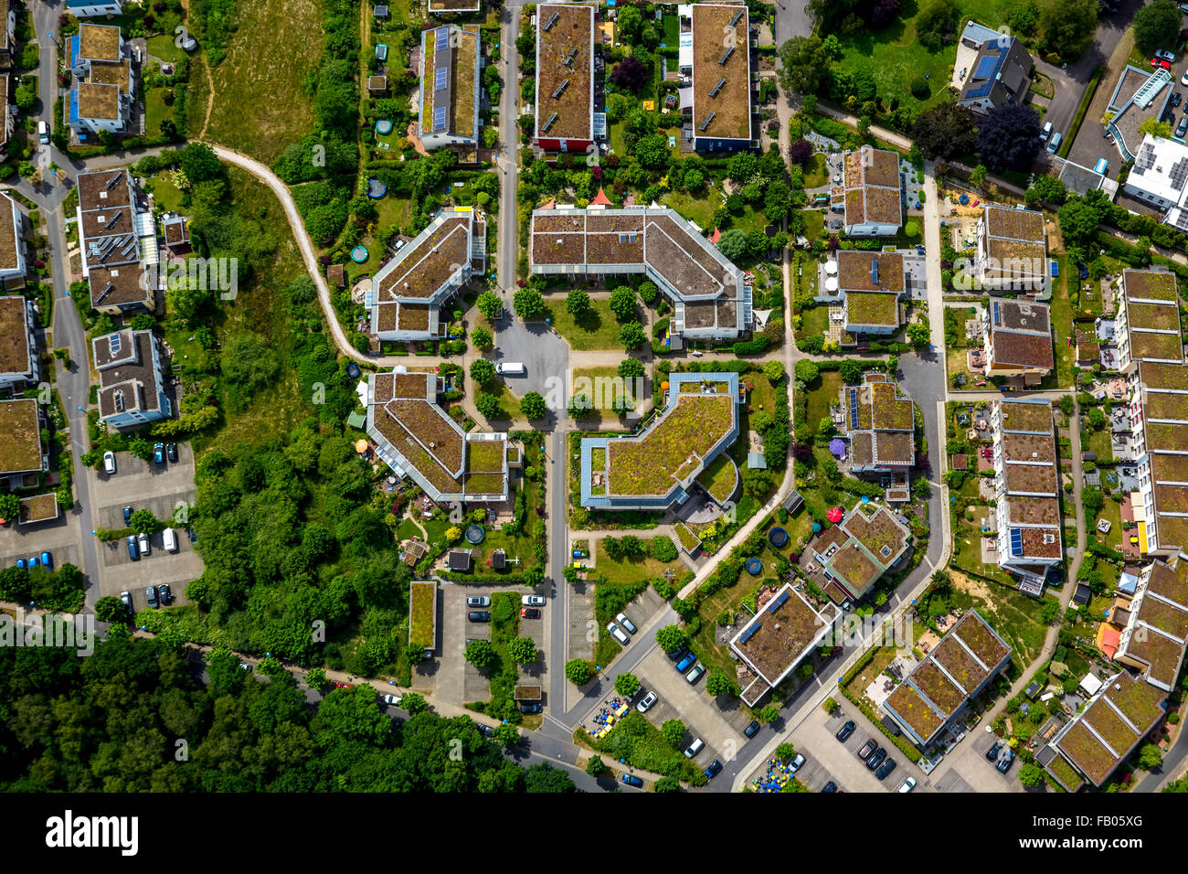 Ecological housing Goldammerweg and Kiebitzweg with a village square, settlement center, urban, sword, Ruhr area, - Stock Image