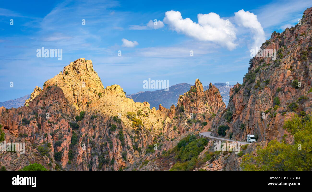 Les Calanches, volcanic red rocks formations mountains landscapes, Golfe de Porto, Piana,  Corsica Island, France, Stock Photo