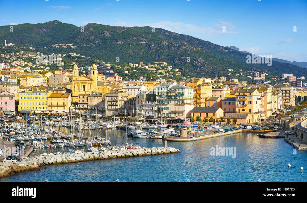 Aerial view at Bastia Port, Corsica Island, France - Stock Image