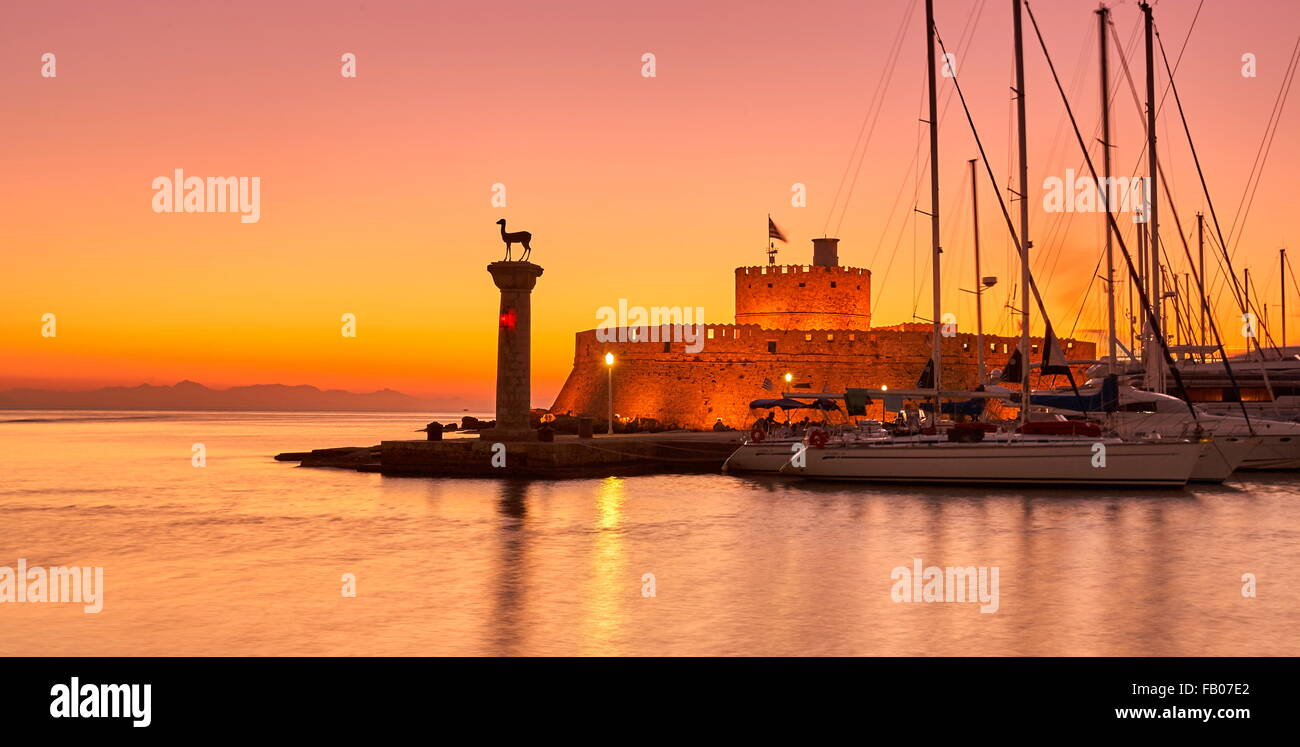 Rhodes town, Greece, UNESCO - Stock Image