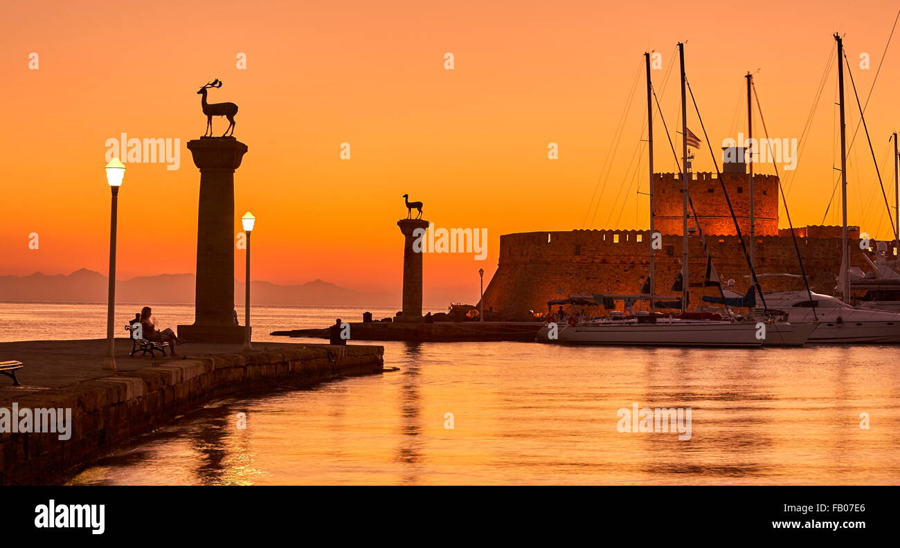 Rhodes before sunrise, Rhodes Island, Greece, UNESCO - Stock Image