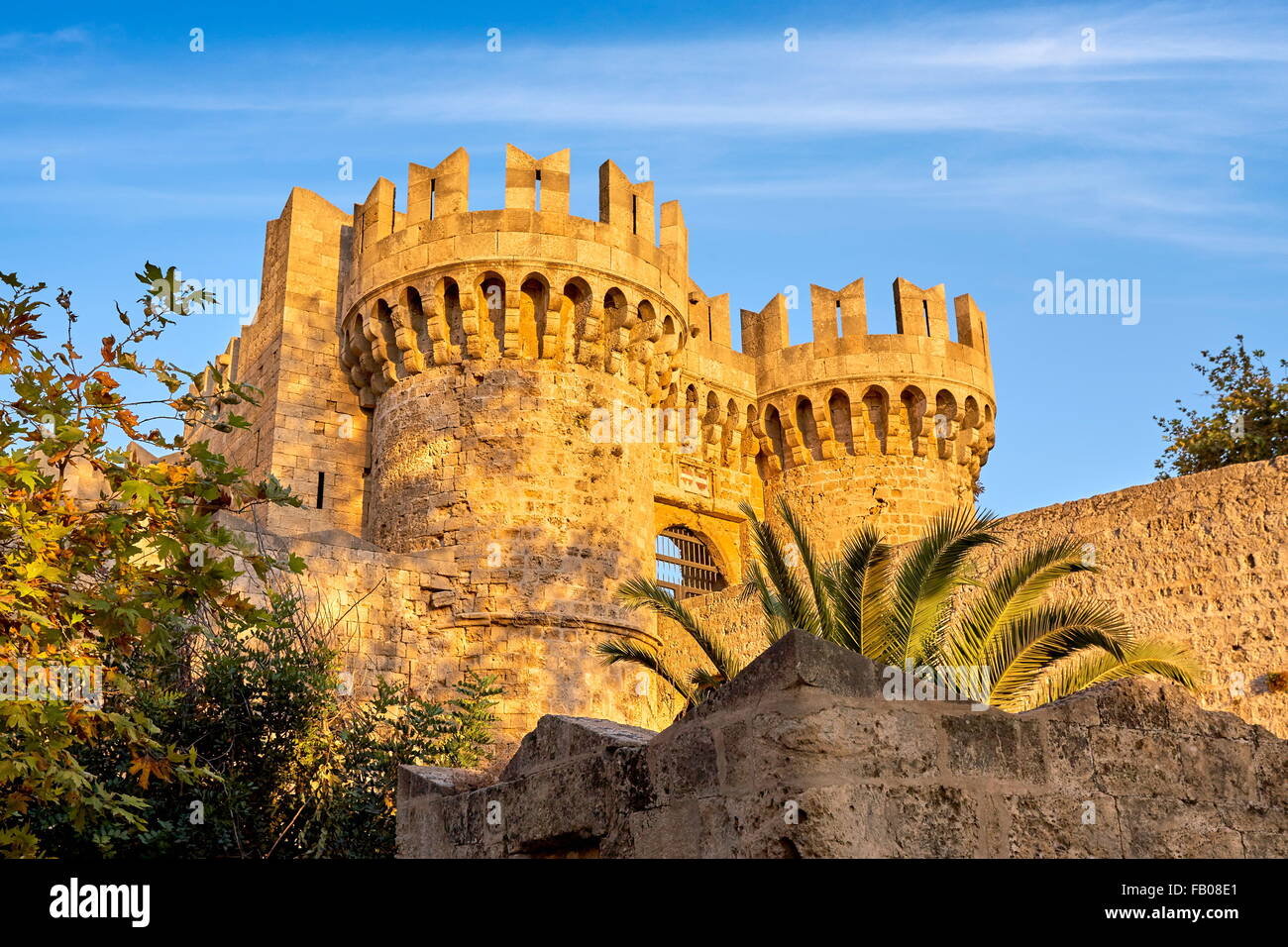 The Palace of the Grand Masters, Old town in Rhodes, Dodecanese Islands, Greece, UNESCO Stock Photo