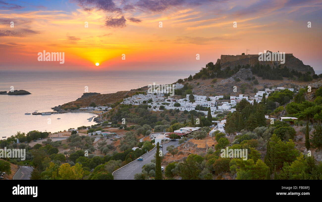 Sunrise time at Lindos and the Acropolis, Rhodes, Greek Dodecanese Island - Stock Image