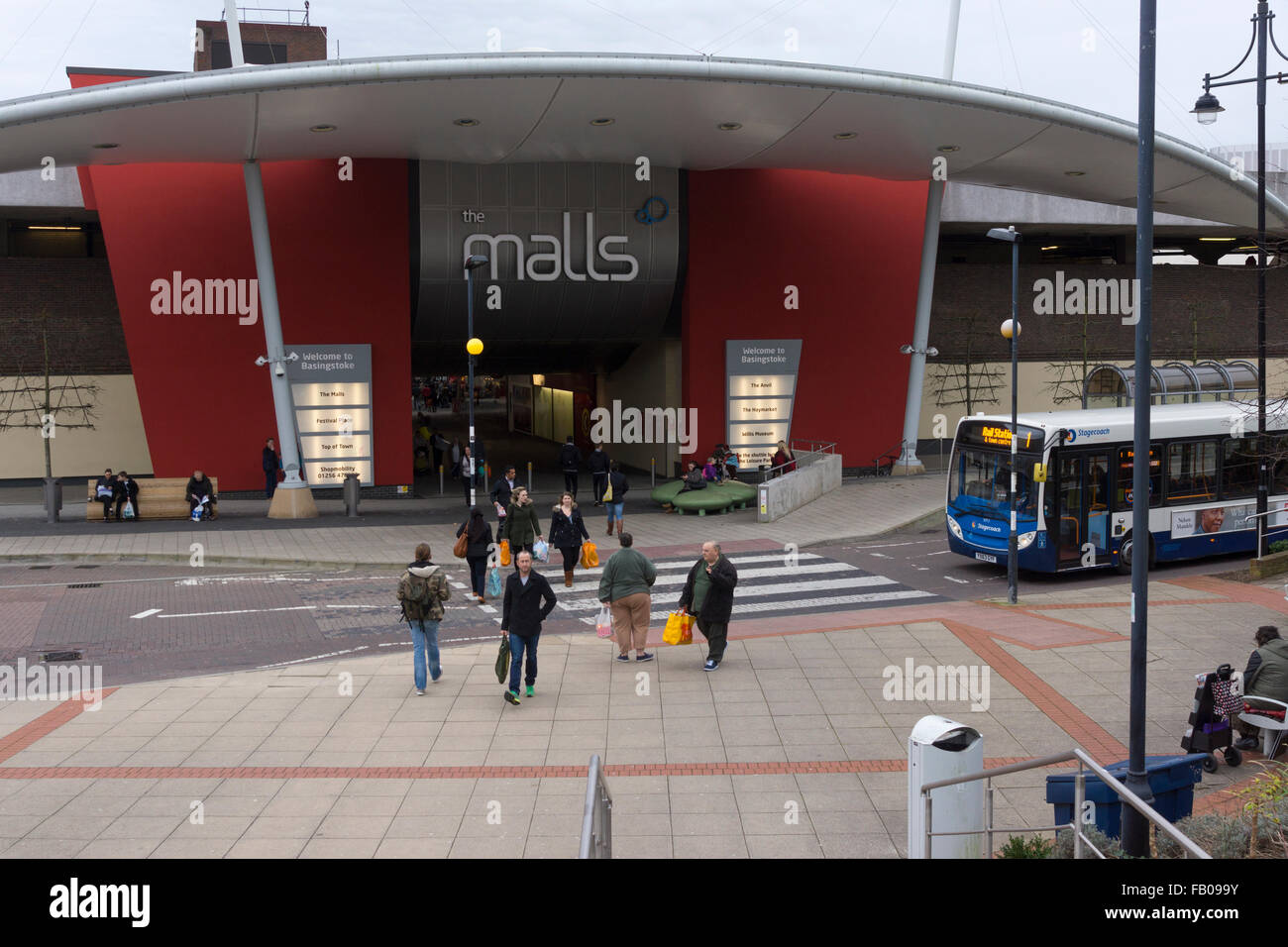 'The Malls' in Basingstoke as viewed from outside the train station - Stock Image