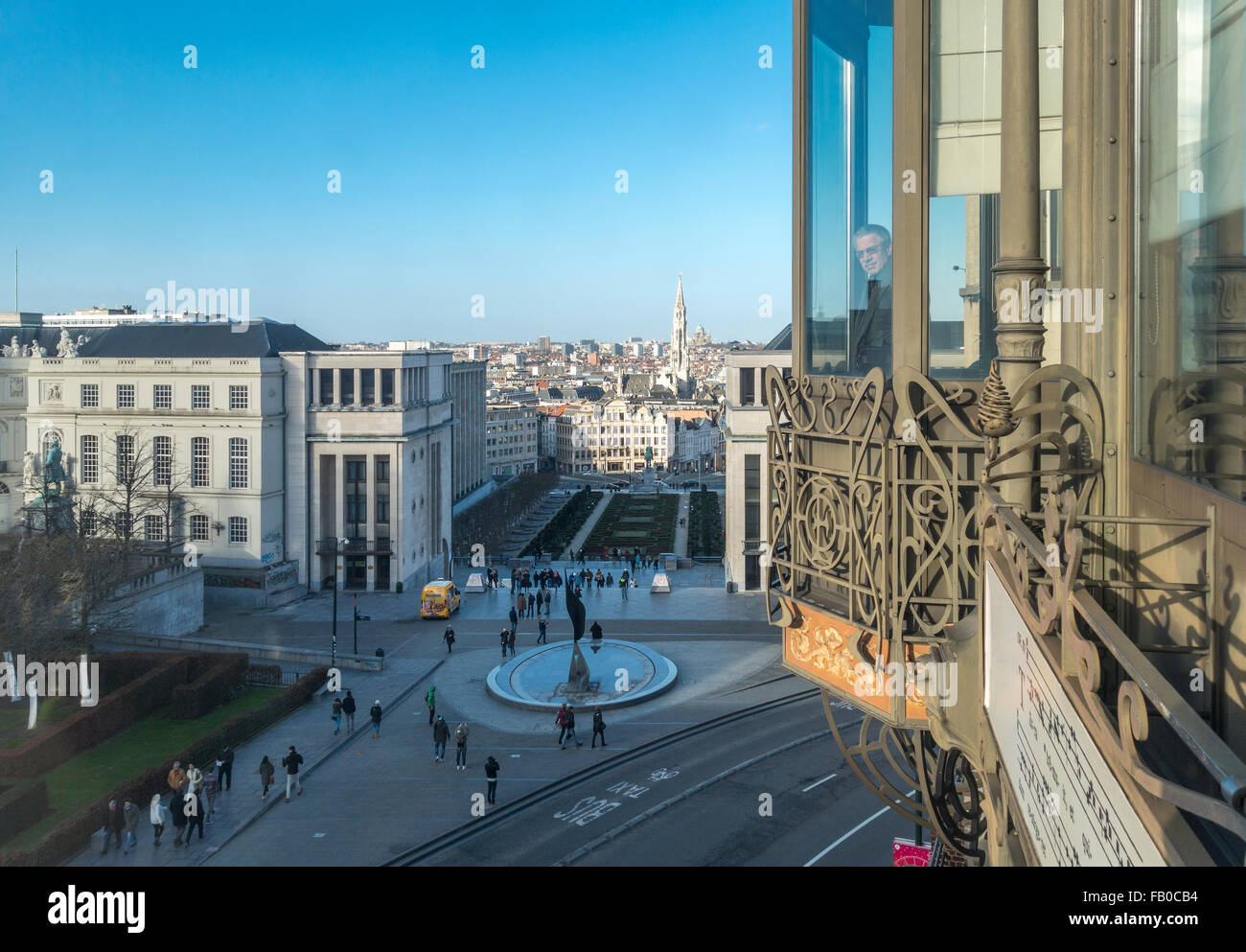 View over downtown Brussels from the Art Nouveau building of the Musical Instruments Museum Brussels MIM. Stock Photo