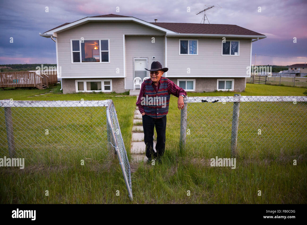 Elder of the Siksika (Blackfoot) First Nation, Chief Tom Crane Bear, at home on the Siksika Nation reserve near - Stock Image
