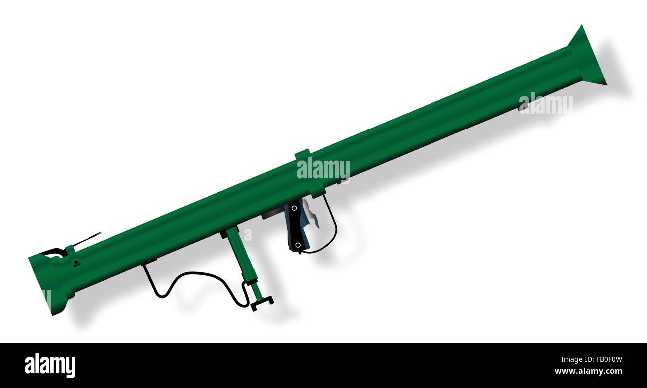 A typical bazooka anti tank weapon isolated on a white background - Stock Vector