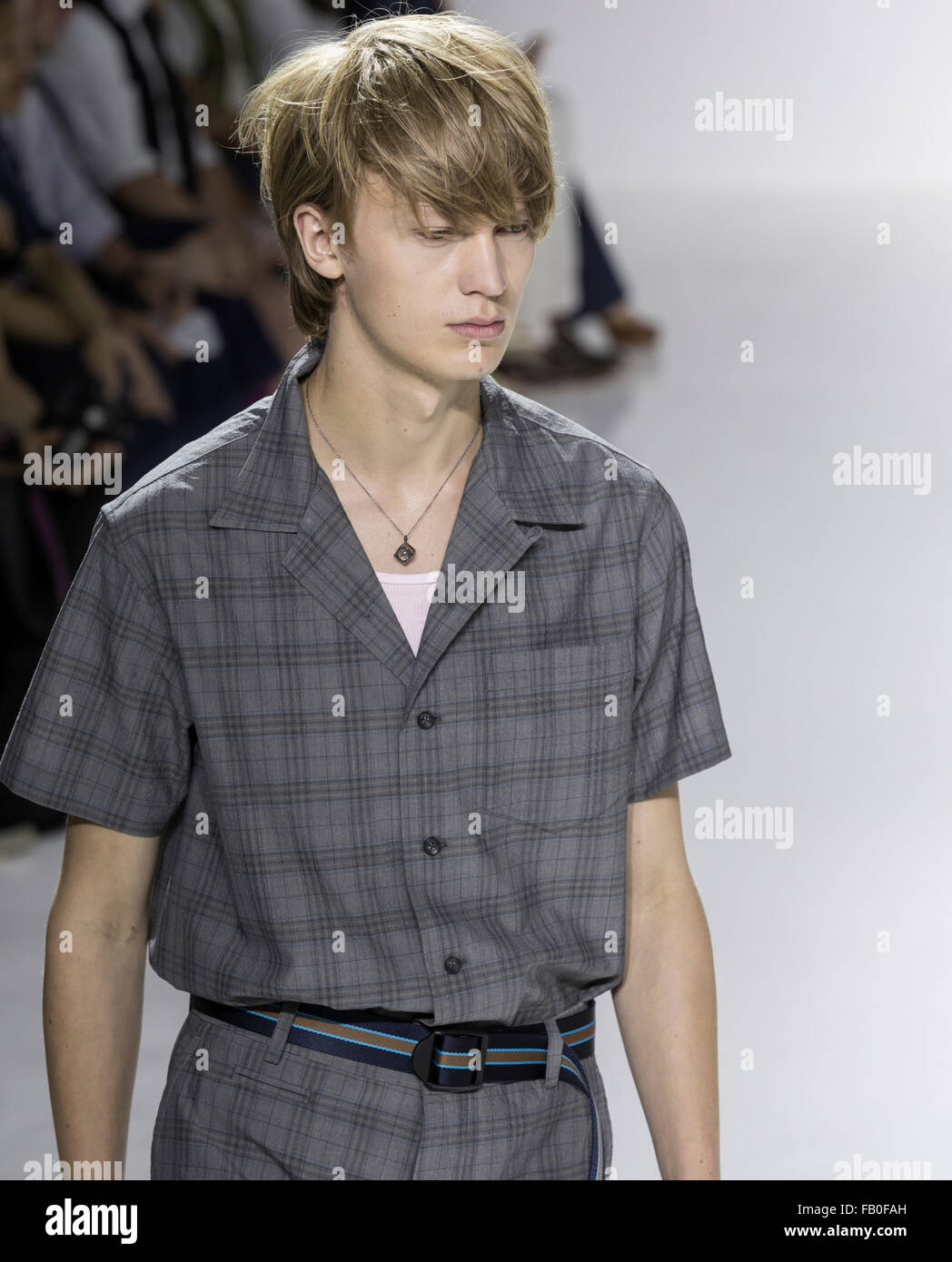 NEW YORK, NY - JULY 15, 2015:  walks the runway during the Richard Chai show at NY Fashion Week Men's S/S 2016 - Stock Image