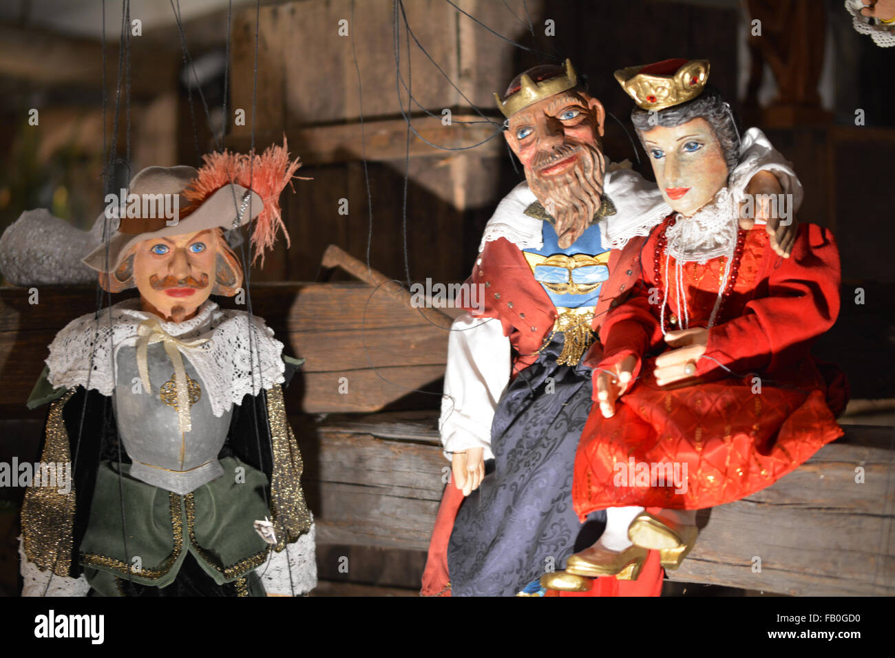 Christmas stringed wooden puppets of Royalty at the Christmas markets in Prague - Stock Image