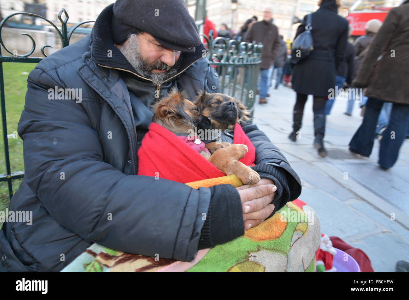 A homeless man at the steps of Notre Dame Cathedral, Paris with two puppies asleep in his arms. - Stock Image