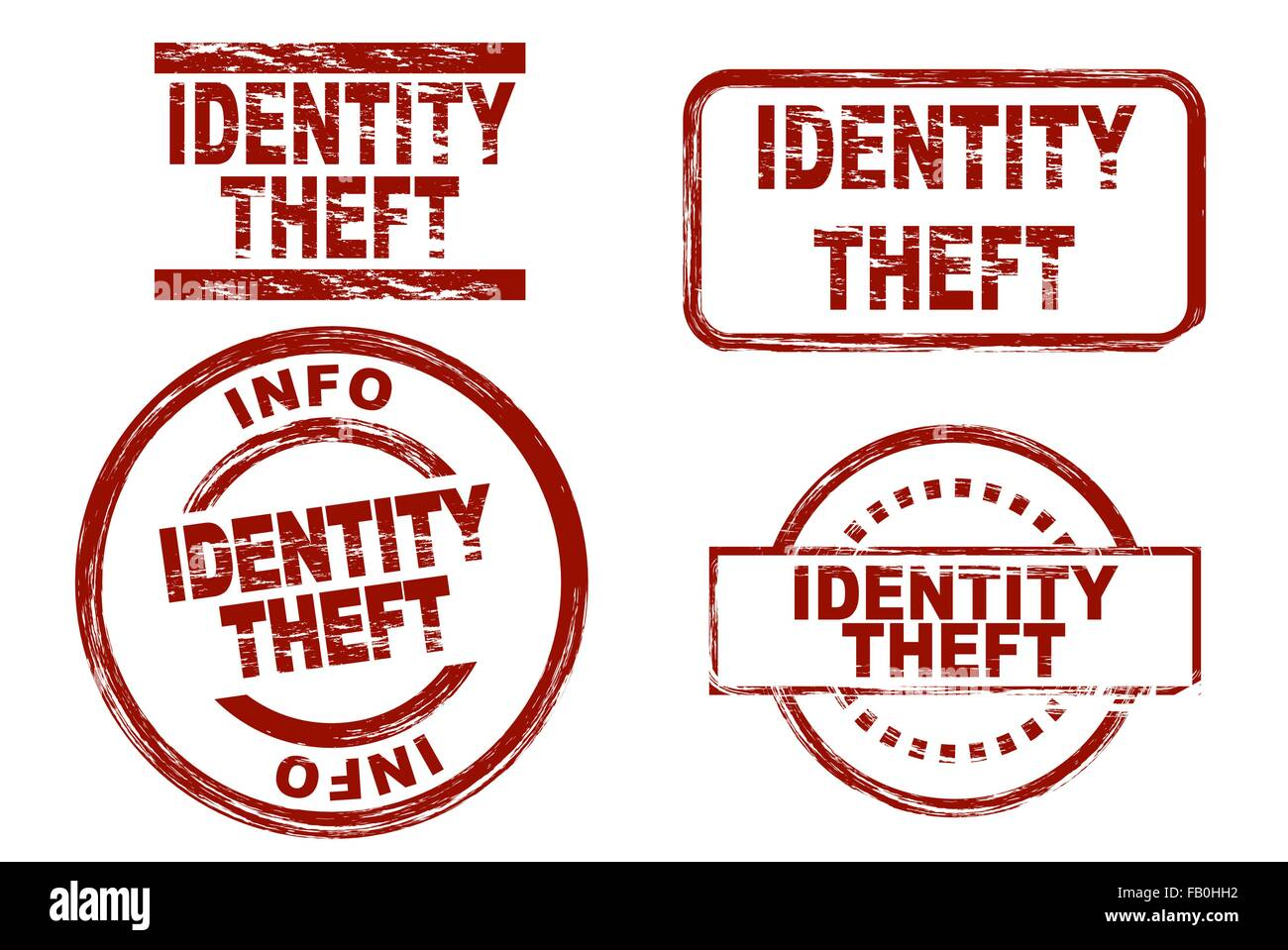 Set of stylized ink stamps showing the term identity theft. - Stock Vector