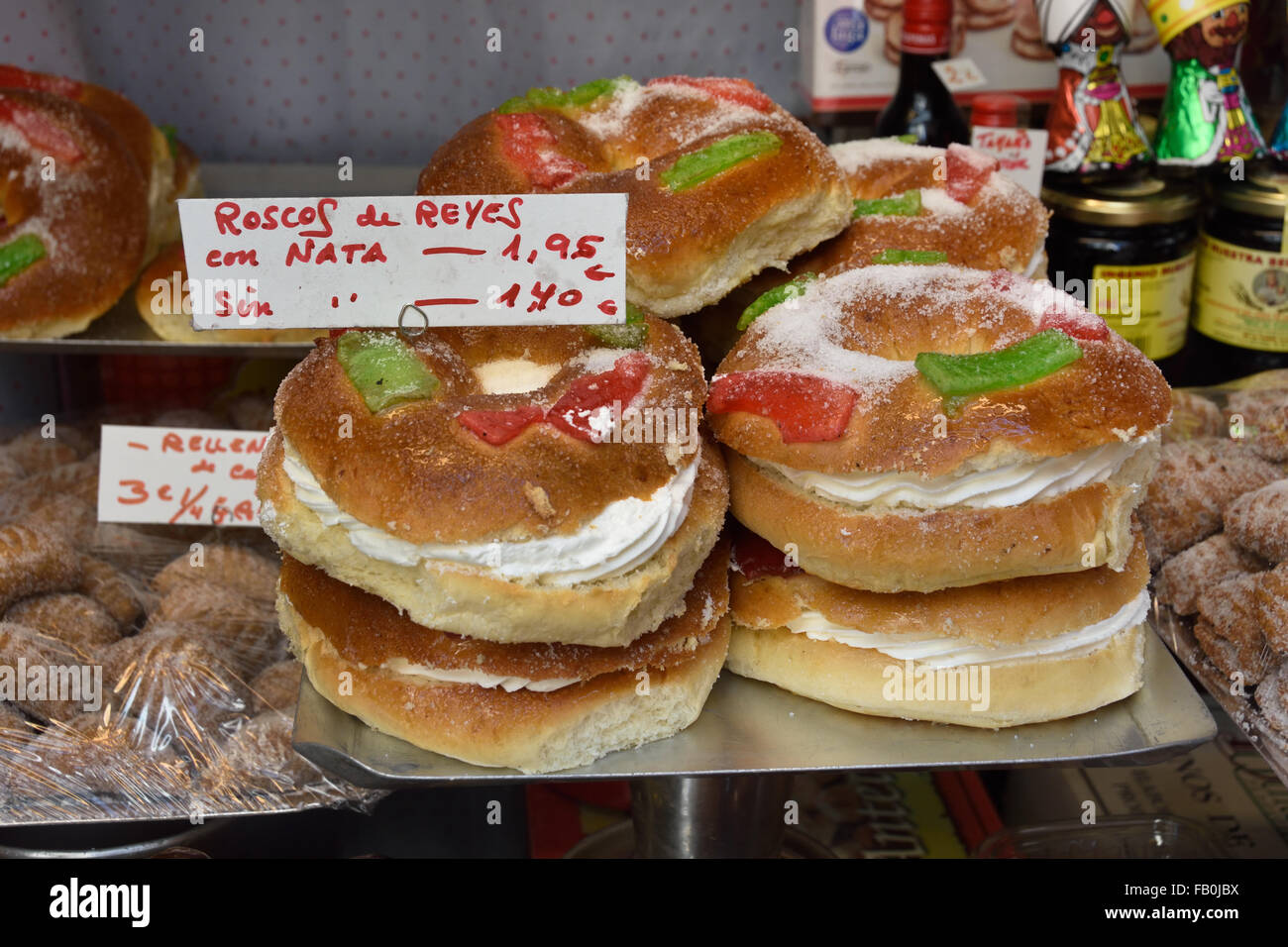 Bakery Malaga Spanish Spain Andalusia ( roscof de reyes - twisted roll of kings ) - Stock Image