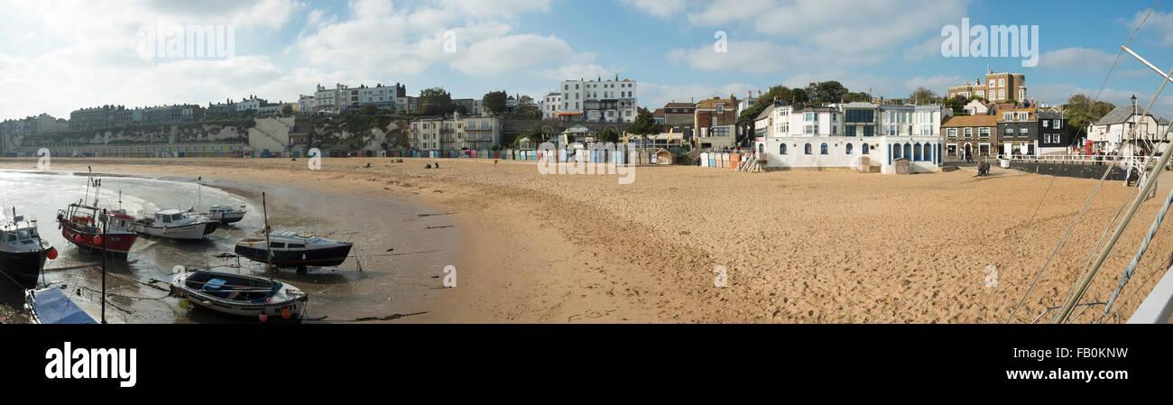 Broadstairs beach Dickens Bleak house panorama - Stock Image
