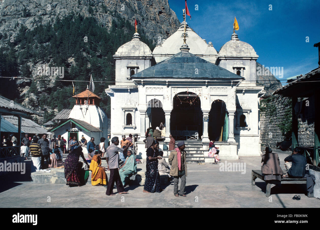 Gangotri Temple, dedicated to the Goddess Ganga, near Source of the River Ganges and a Major Himalayan Pilgrimage - Stock Image