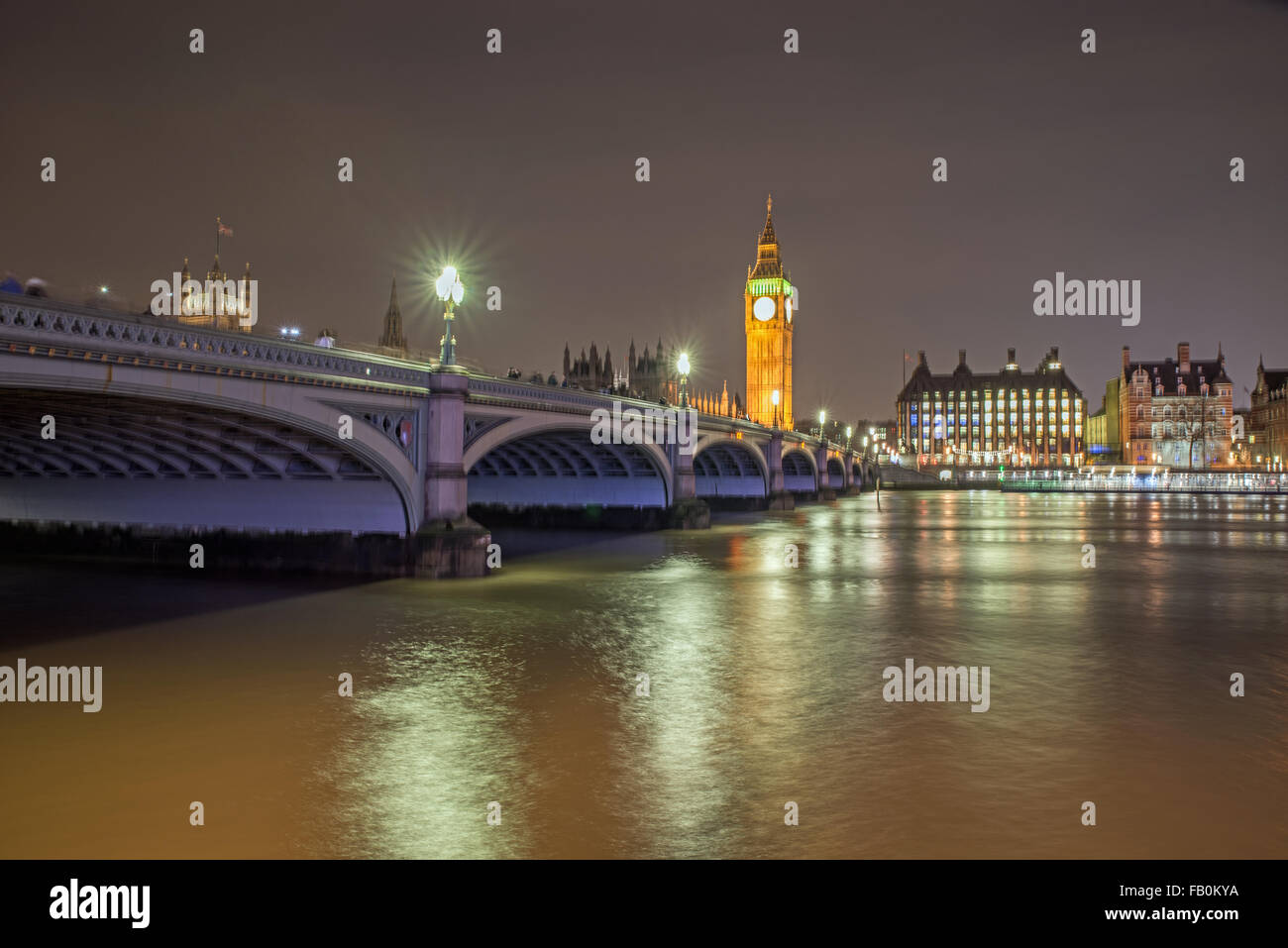 Westminster Bridge and Big Ben London United Kingdom - Stock Image