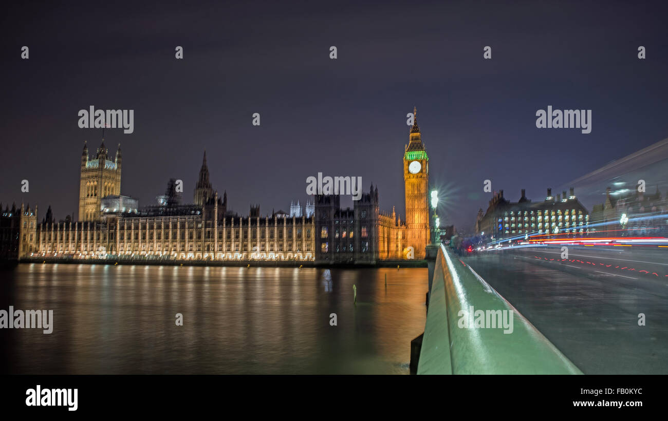 Big Ben and Westminster Bridge United Kingdom - Stock Image