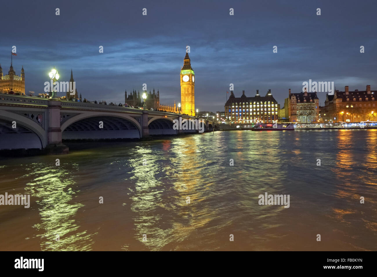 Big Ben and Westminster Bridge London United Kingdom - Stock Image