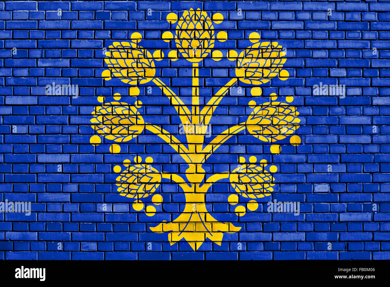 flag of Appleby-in-Westmorland painted on brick wall - Stock Image