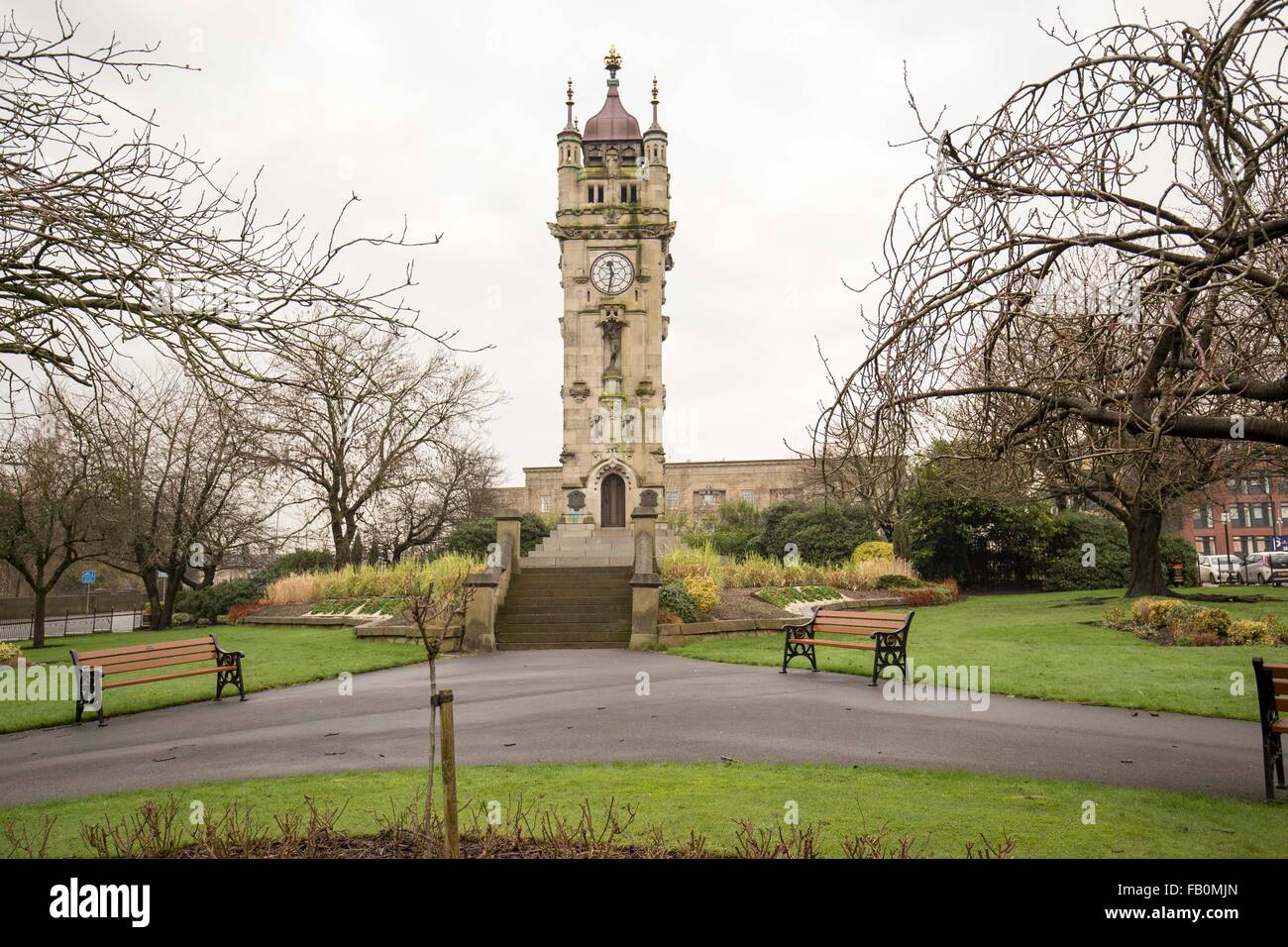 The Whitehead Clock Tower in Tower Gardens, Bury, Greater Manchester, England, UK - Stock Image
