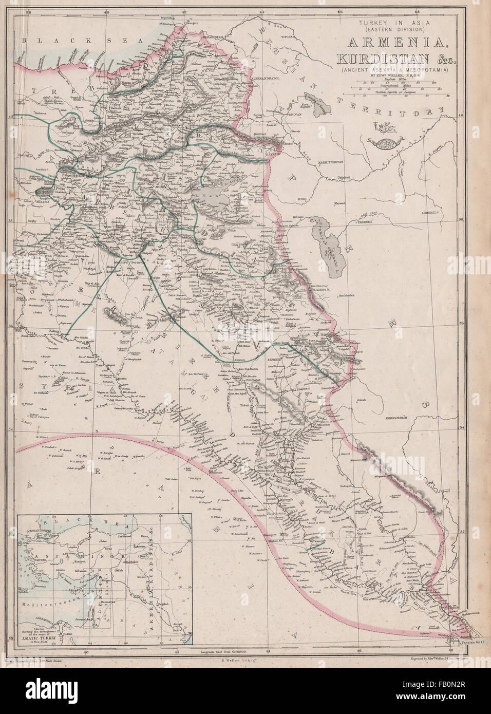 Antiques Art Prints Turkey In Asia East Armenia Kurdistan Assyria Mesopotamia Iraq Weller 1862 Map Various Styles