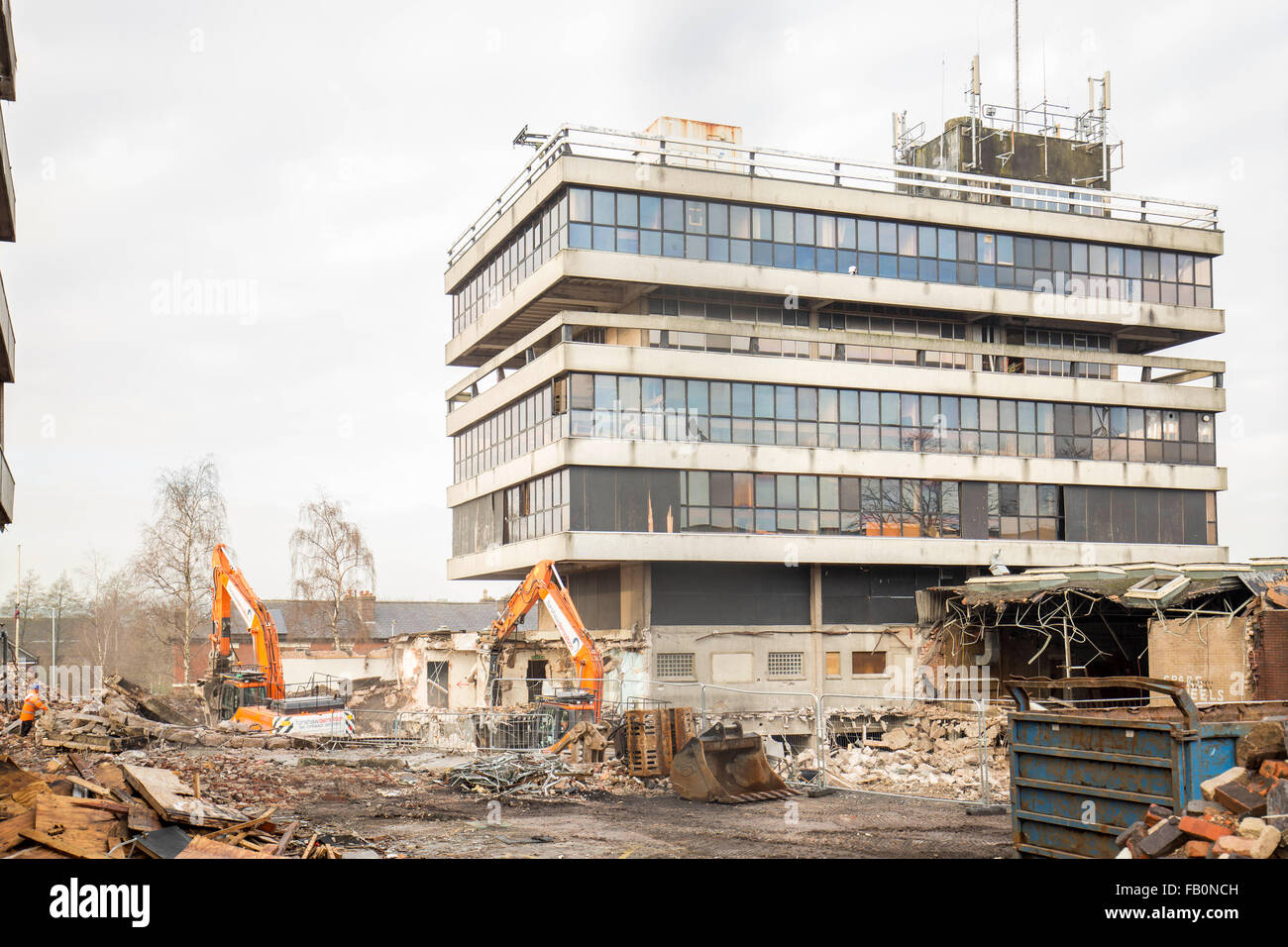 demolition of the old derelict Police Station , Bury , England - Stock Image