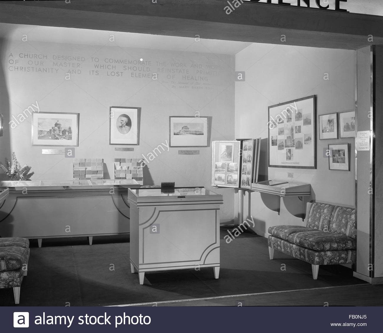 Interior exhibit relating to Christian Science doctrine and its founder, Mary Baker Eddy. Christian Science exhibit - Stock Image