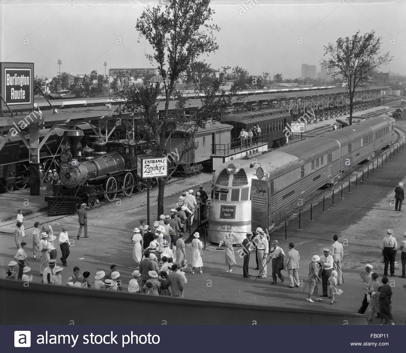 Burlington Zephyr exhibit at the Century of Progress, 1933. View of the CB and Q Railroad exhibit located just south - Stock Image