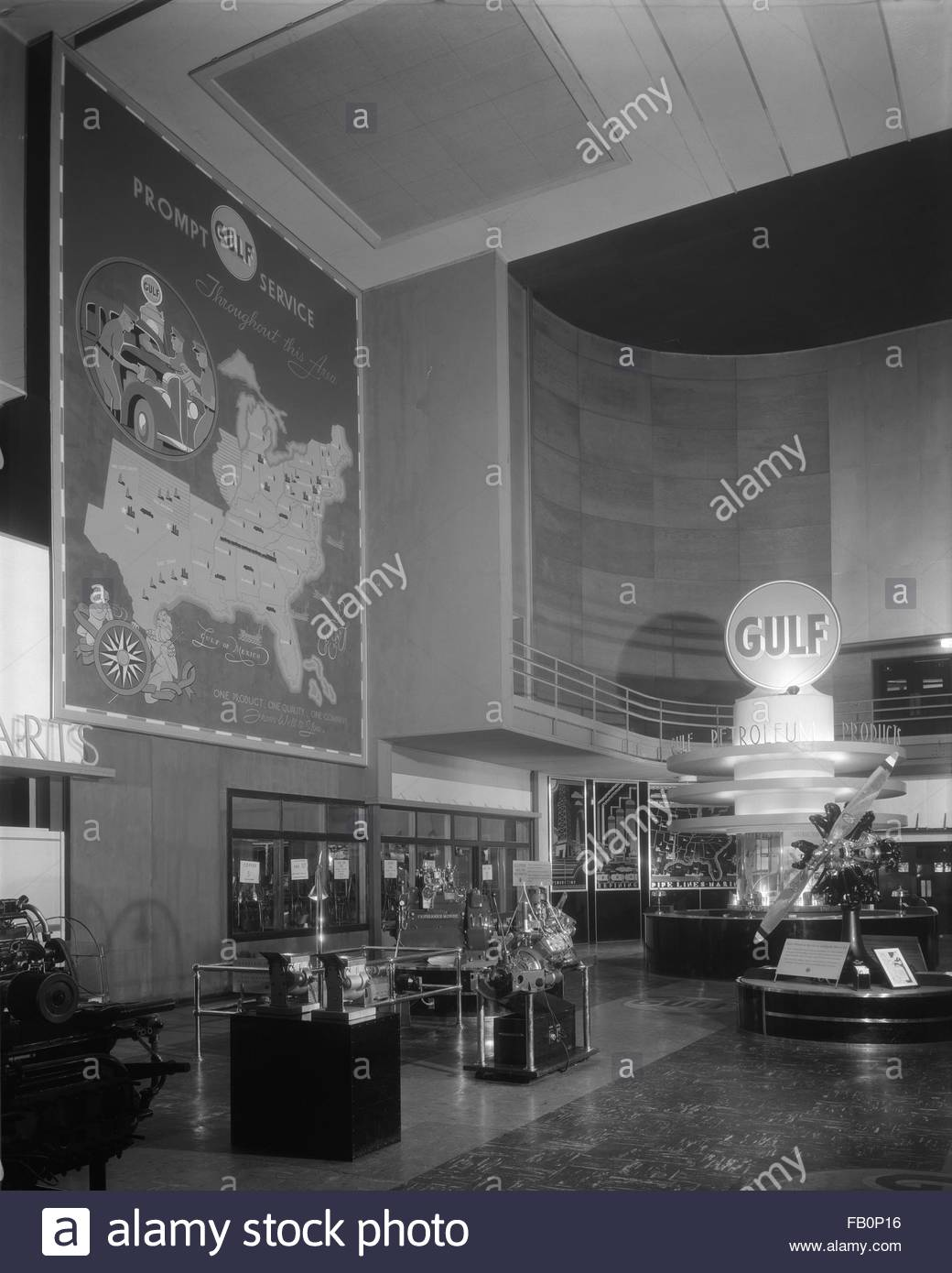 Gulf Oil exhibit at the Century of Progress, 1933. Interior view of the Gulf Refining Company exhibit at the Century - Stock Image