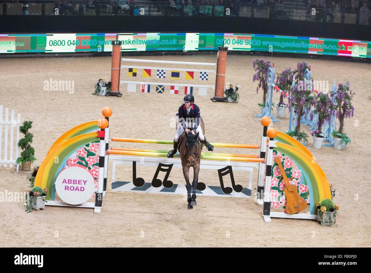 The Liverpool International Horse Show , January 2016 , UK. Dominic Webb on Alvatore - Stock Image