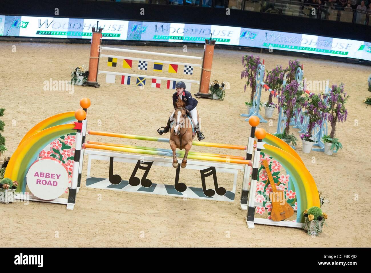The Liverpool International Horse Show , January 2016 , UK. Rebecca Marsh on Venus 3 - Stock Image