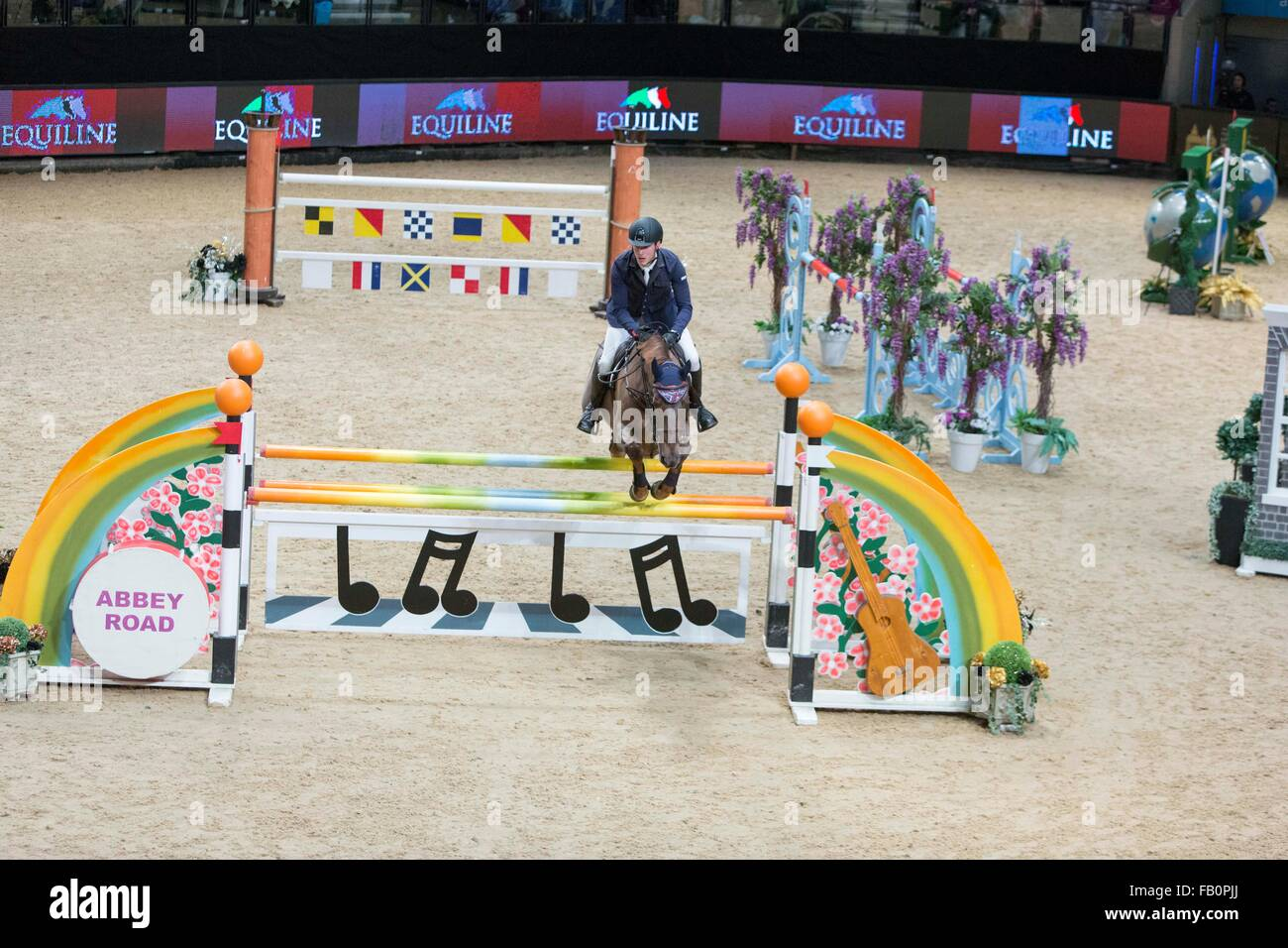 The Liverpool International Horse Show , January 2016 , UK. Chad Fellows on Beat Me - Stock Image