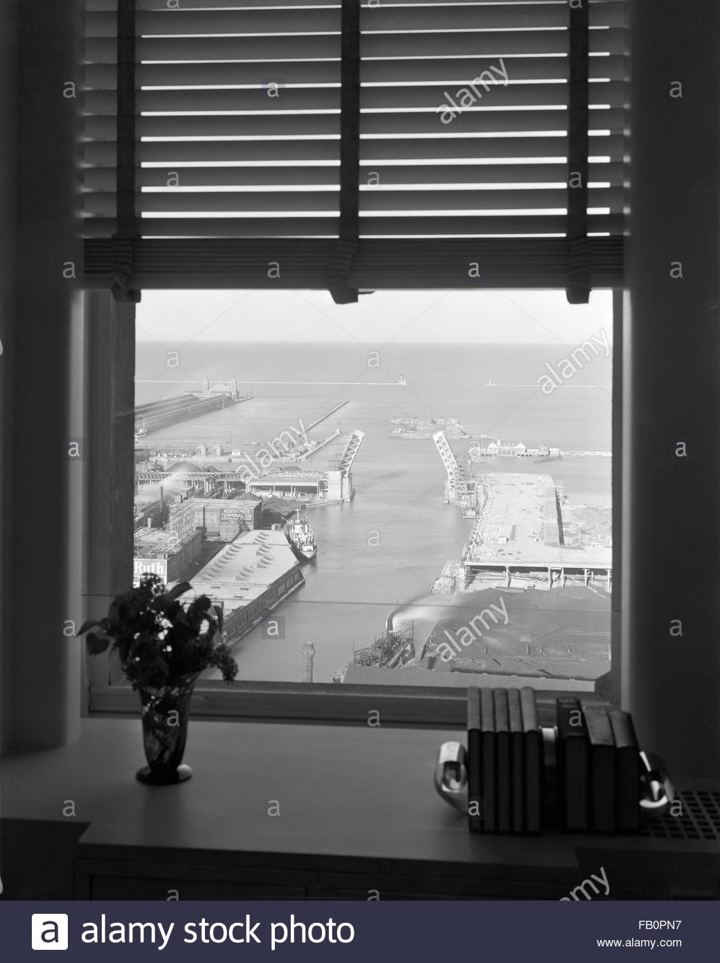 Offices at 333 N. Michigan Ave. building, 1937 May 10. Lake view from Alfred Sterns office. - Stock Image