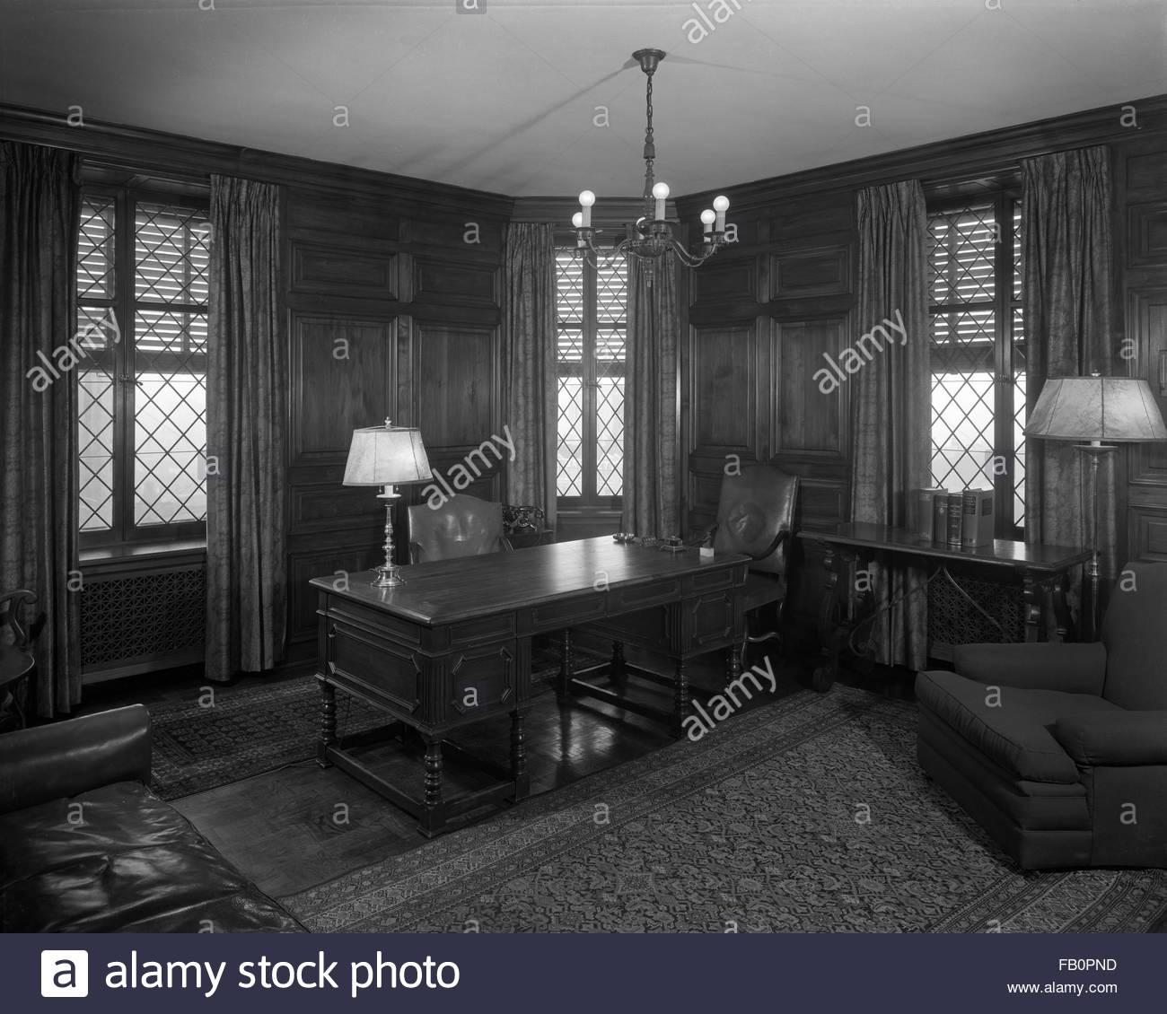 Offices at 333 N. Michigan Ave. building, 1937 May 10. Interior, office. - Stock Image