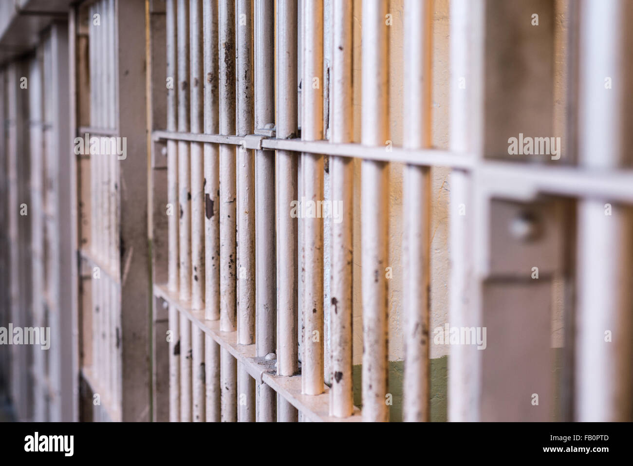 Bars of a cell at Alcatraz penitentiary - Stock Image