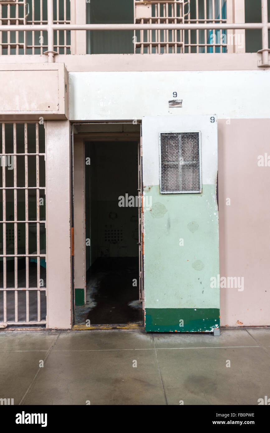 Prison cell door for an isolation cell at Alcatraz penitentiary in San Francisco, California - Stock Image