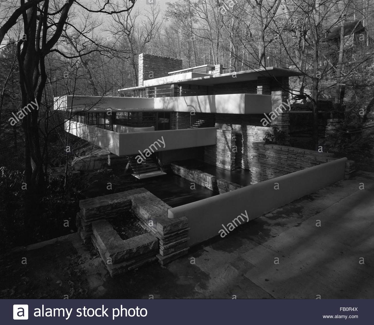 Stone Residence 1: Fallingwater Black And White Stock Photos & Images
