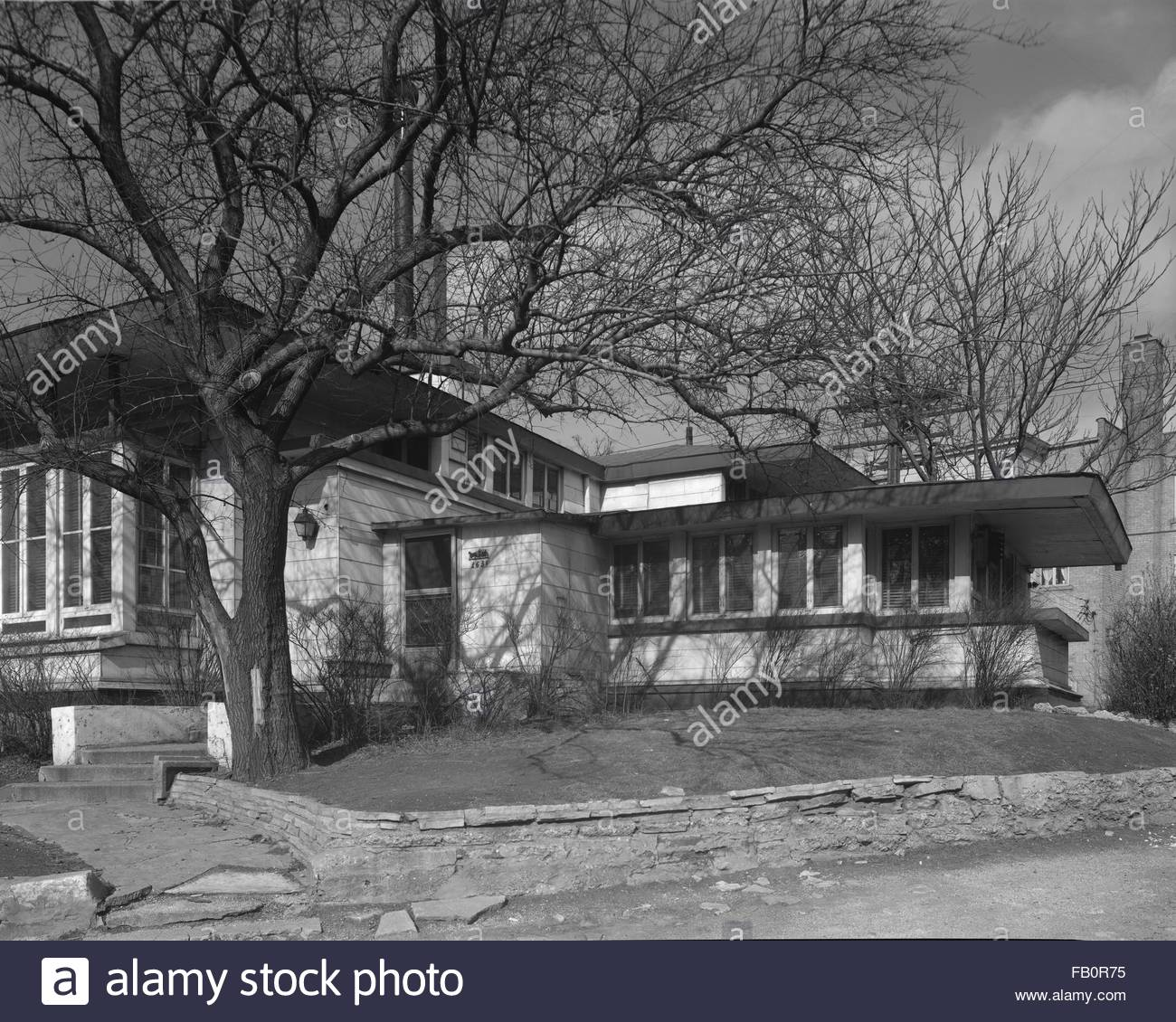 Oscar Steffens residence in Chicago (Ill.), 1963. Side of house. - Stock Image