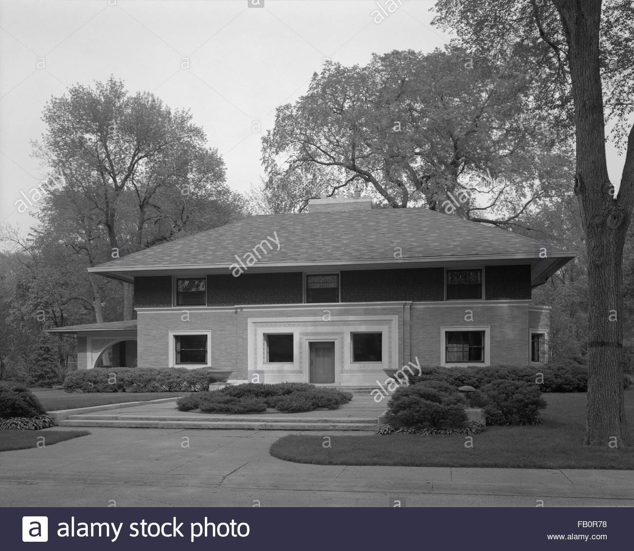 William H. Winslow residence in River Forest (Ill.), 1969. Exterior of the William H. Winslow house at 515 Auvergne - Stock Image