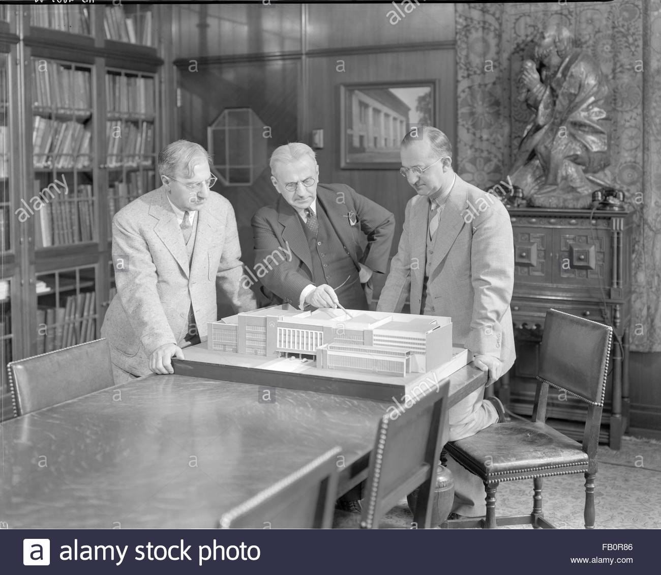 Albert Kahn's firm in Detroit (Mich.), 1938 July 12. Architect Albert Kahn's architectural firm showing - Stock Image