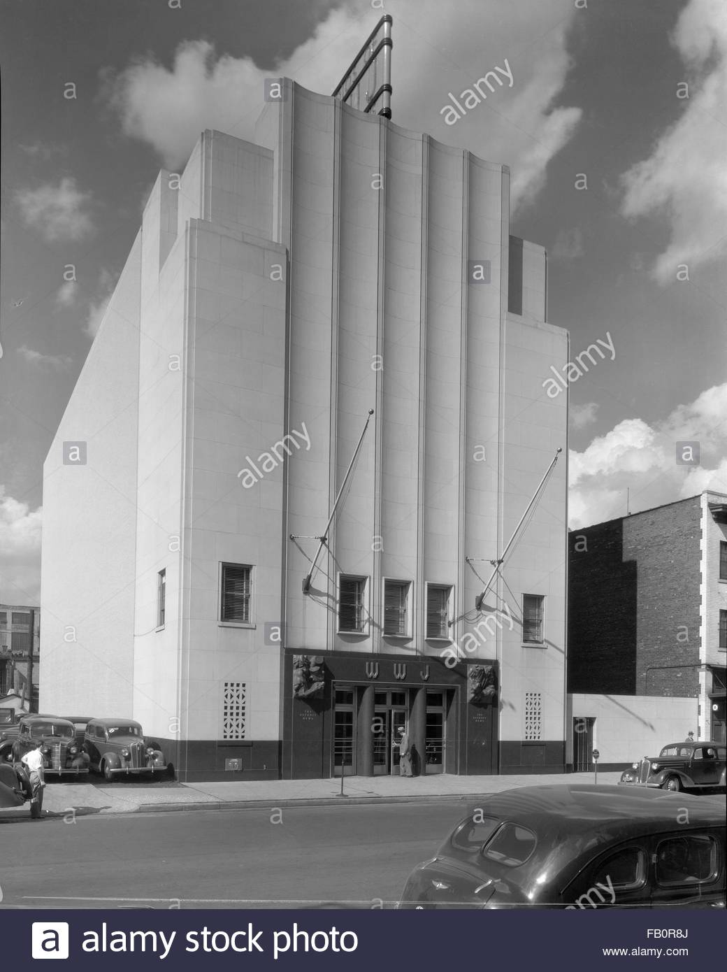 Industrial buildings in Detroit and Lansing (Mich.), 1938 Oct. 6. Exterior, WWJ radio station. - Stock Image
