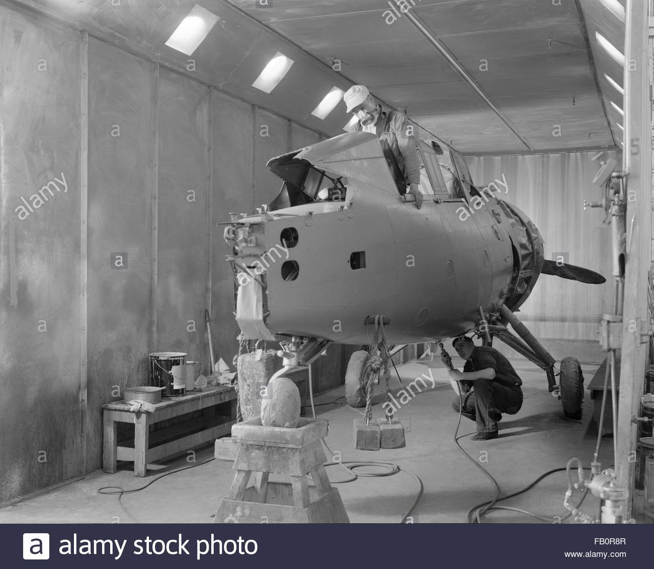 Curtiss-Wright plant in Buffalo (N. Y.), 1939 Apr. 12. Interior, building of an airplane. - Stock Image