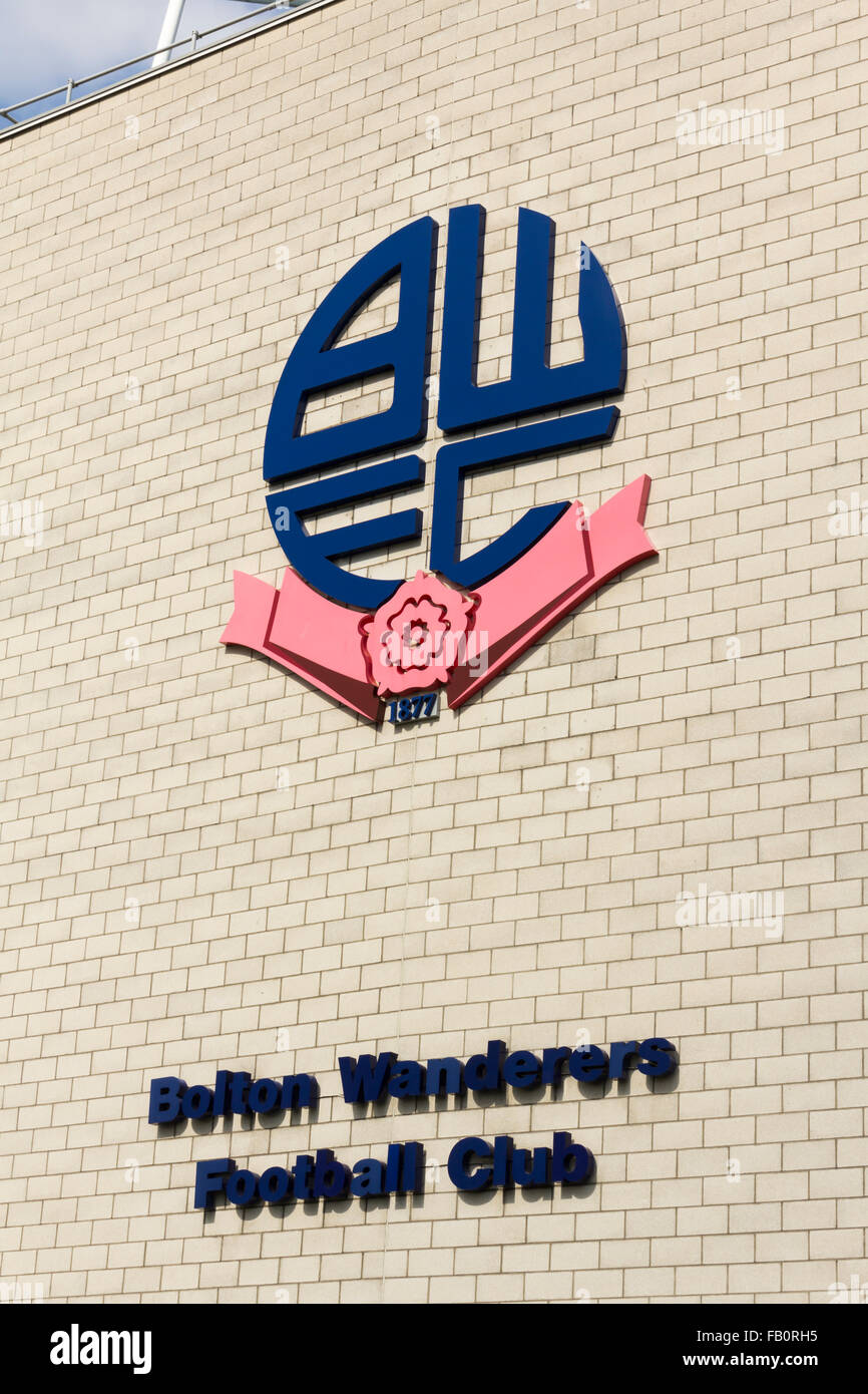 The emblem of Bolton Wanderers Football Club on the outside of their ground, the Macron Stadium (formerly the Reebok - Stock Image