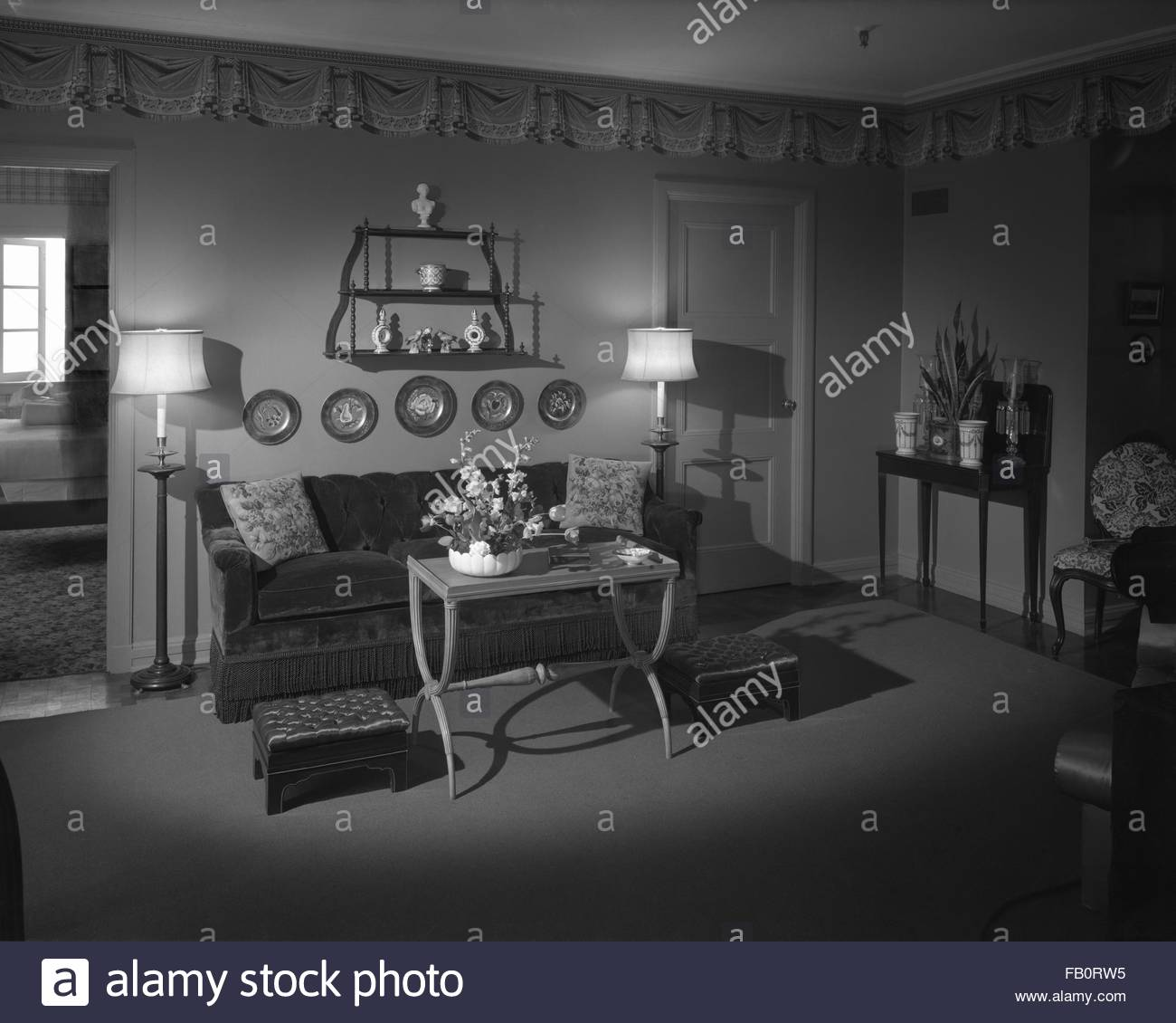 Trend House At Marshall Field And Company, 1940 Apr. 1. Living Room.