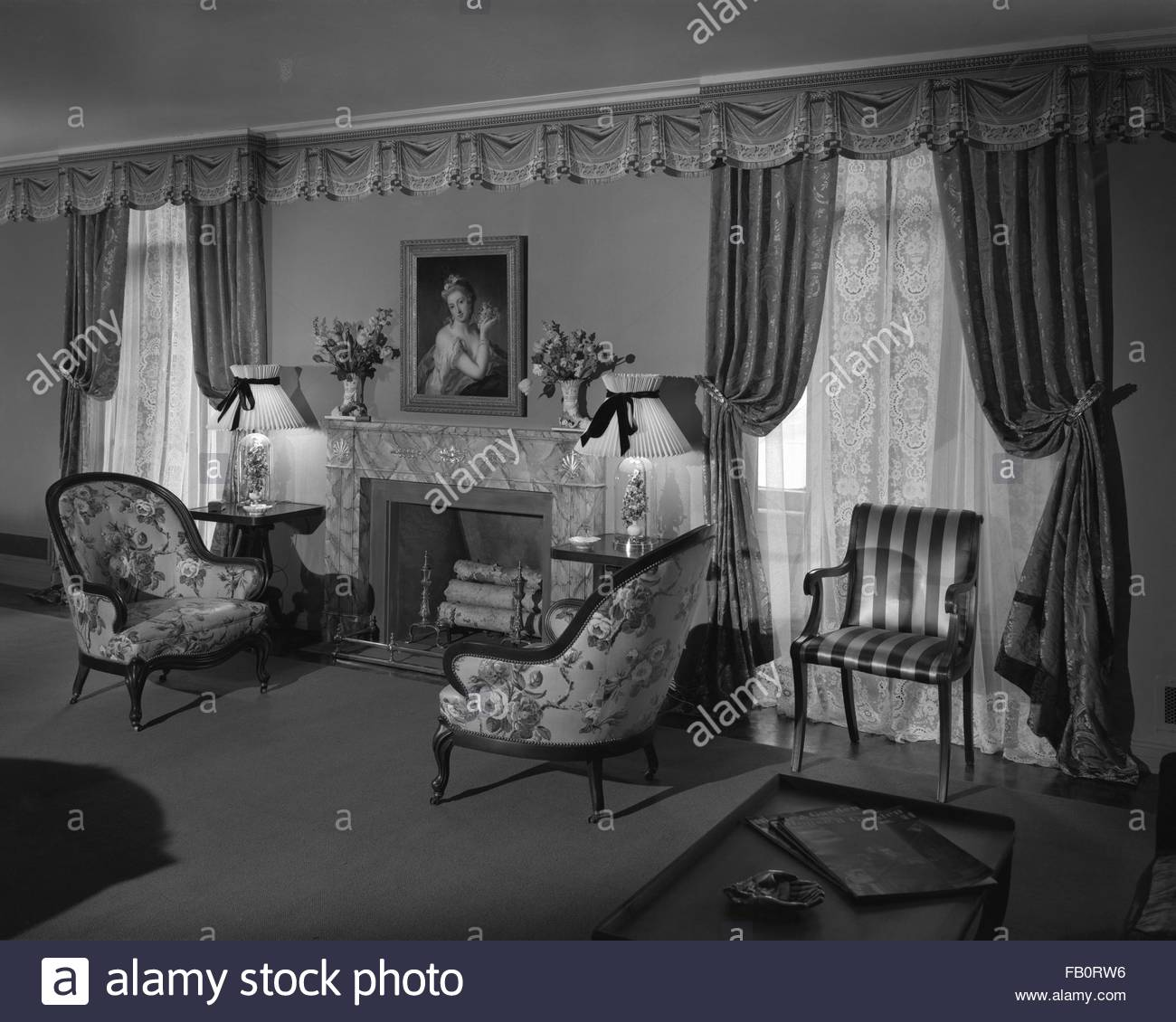 Trend House At Marshall Field And Company, 1940 Apr. 1. Formal Living Room.