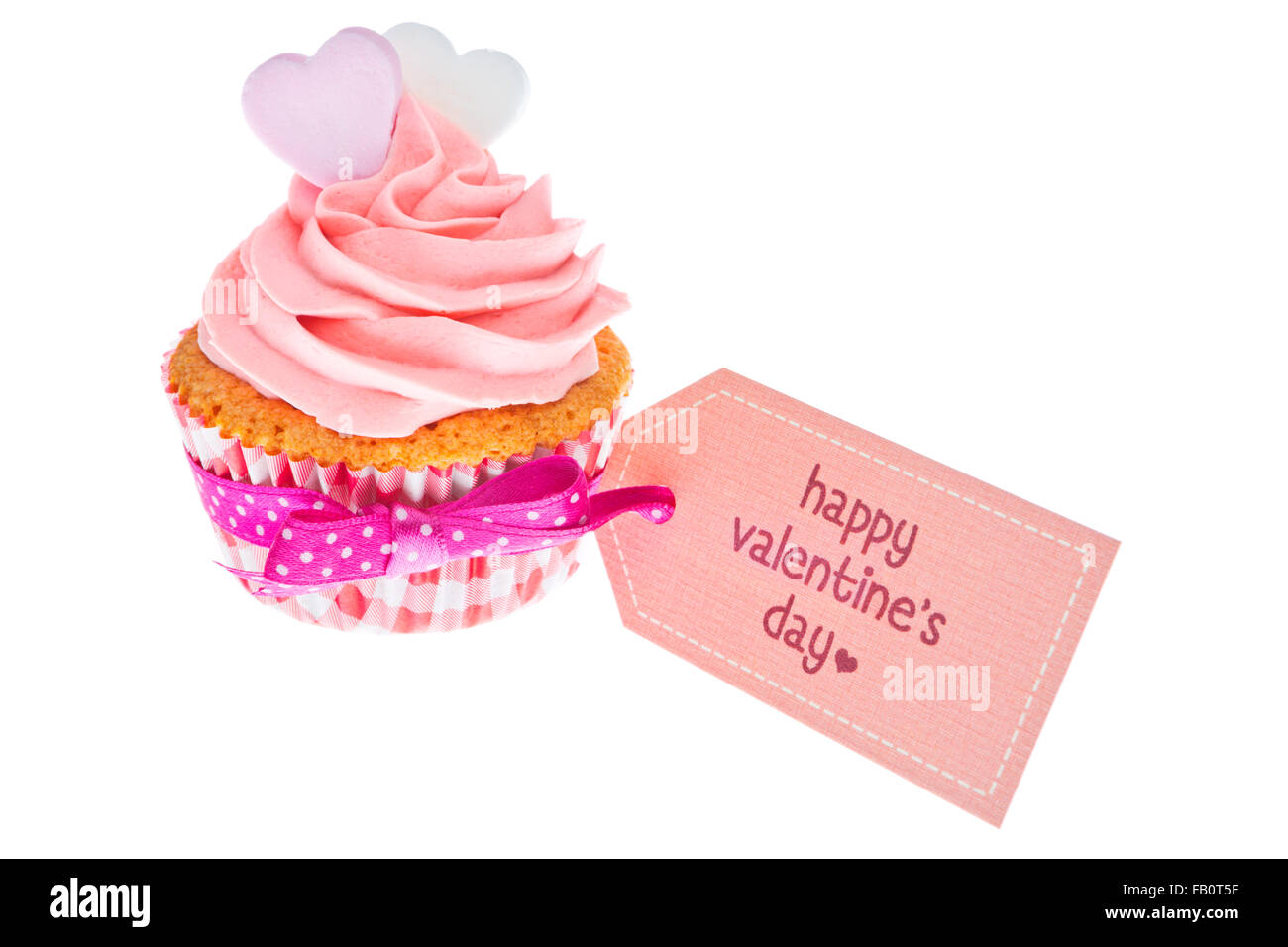 pink valentine cupcake with the words happy valentine s day on a