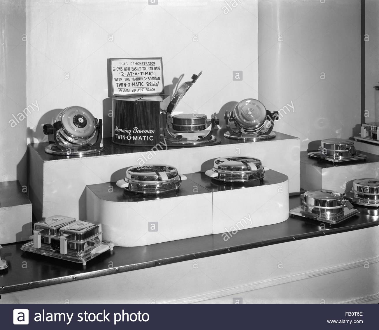 Waffle iron display at Marshall Field and Company, 1941 Jan. 17. Waffle iron display at Marshall Field and Company - Stock Image