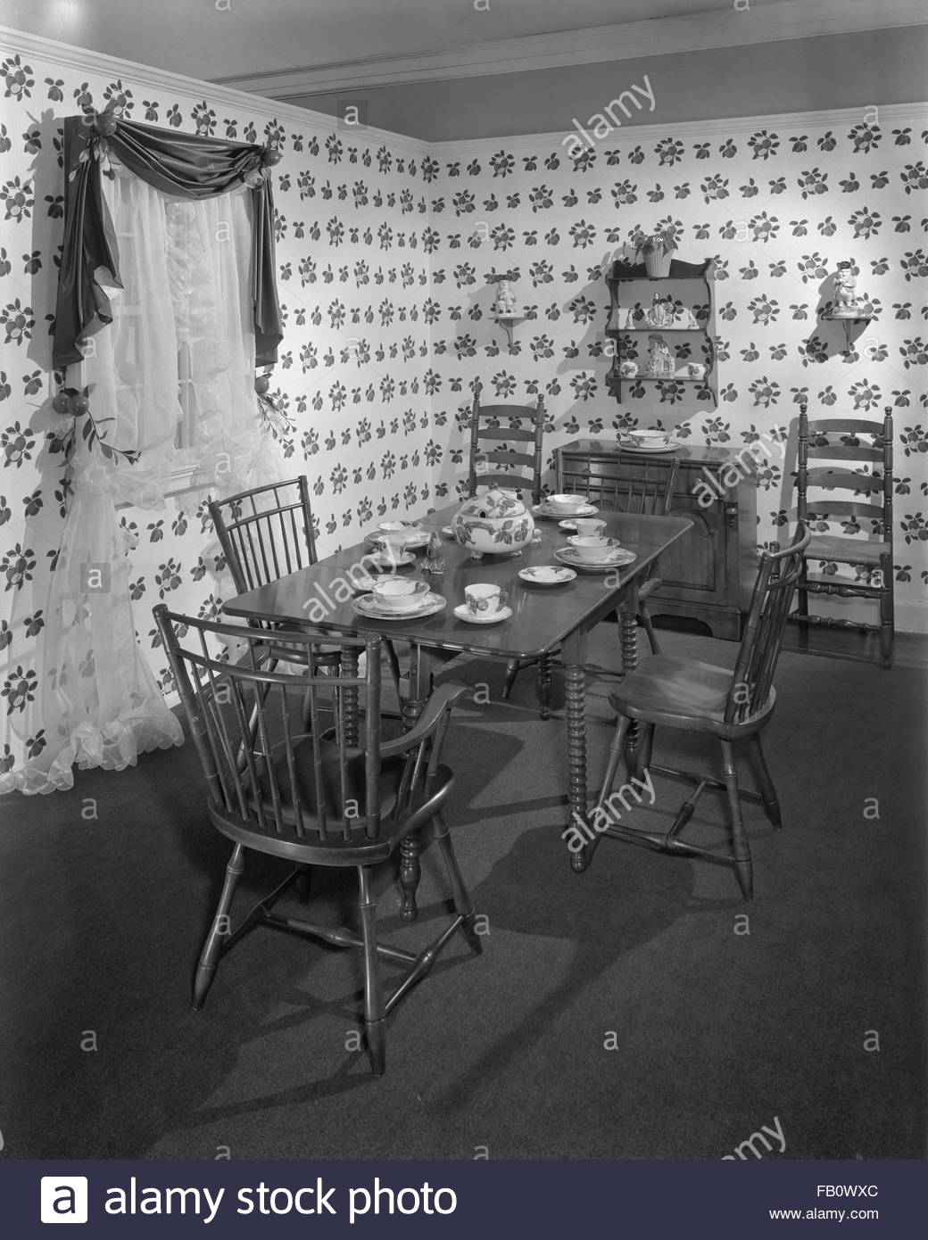Highway 42 section of Marshall Field and Company furniture department, 1943 Feb. 15. Country style kitchen. Stock Photo