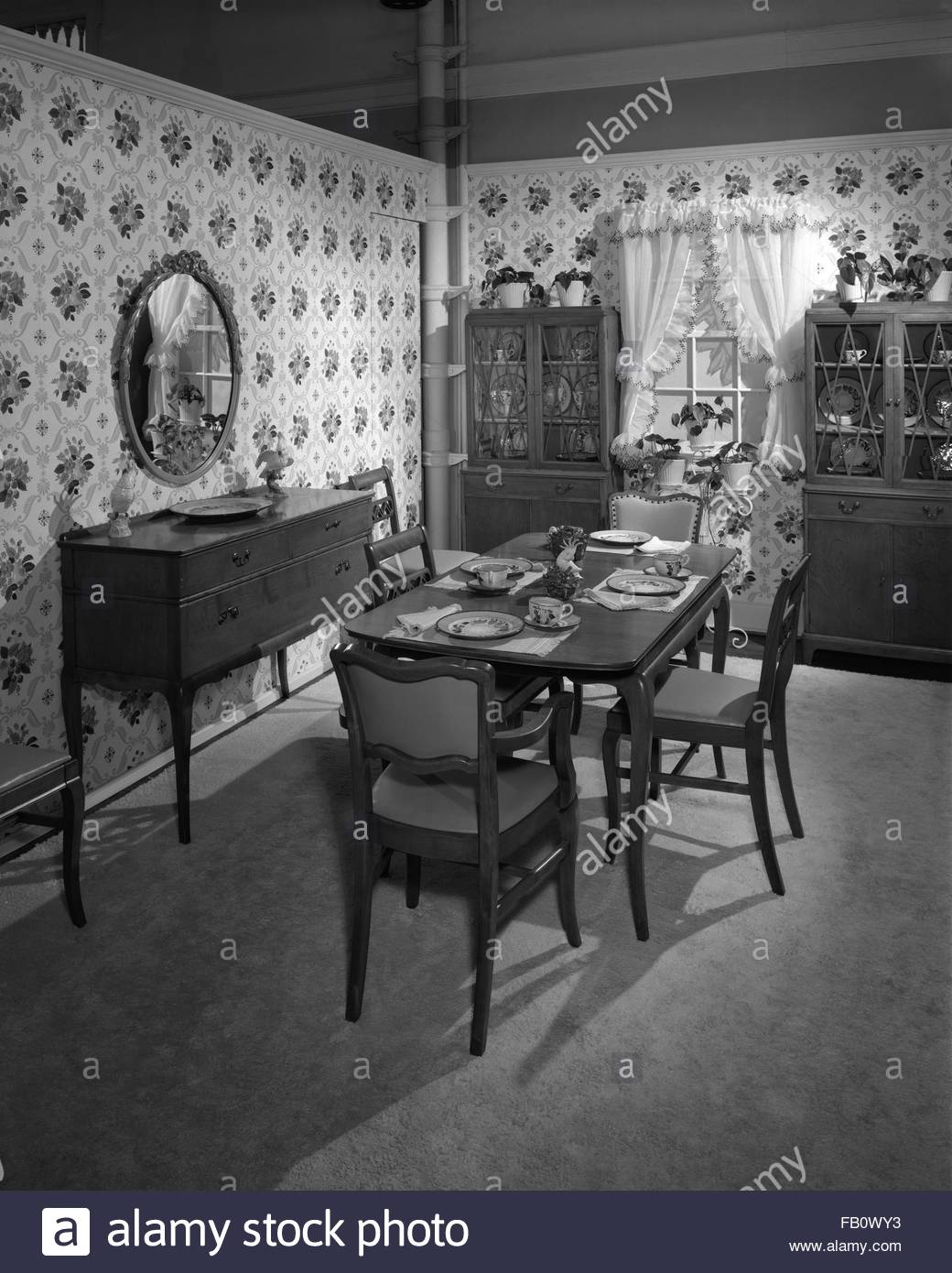 Highway 42 section of Marshall Field and Company furniture department, 1943 Feb. 15. Dining room. Stock Photo
