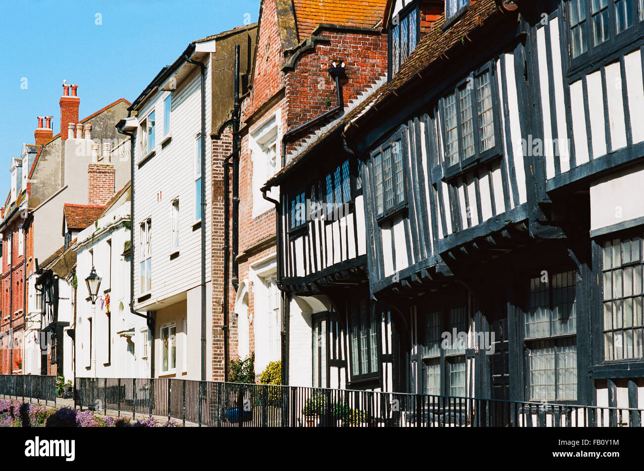 Hastings Old Town houses, on All Saints Street, Sussex, UK - Stock Image